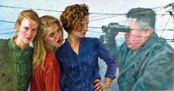 LOOK LEFT - LOOK RIGHT 2014 Oil on Dibond150 x 284 cm